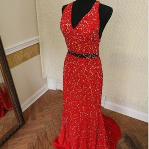 Studio 17 Red Sequined Gown - Size 10